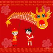 Chinese children holding the dragon for celebrate new year — Stock Vector