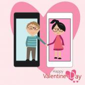 Couples of lover feeling lovely in Valentine's Day with smartphone — Cтоковый вектор