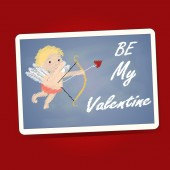 Be My Valentine word with cupid on the black board — Stock Vector