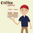 Boy holding cups of coffee for delivery — Stock Vector #61923031