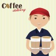 Boy holding cups of coffee for delivery — Stock Vector #61923041