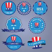 I Love USA badges with uncle Sam hat — Stock Vector