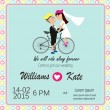 Bicycle lover couples wedding invitation — Stock Vector #62176367