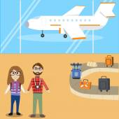 Hipster man travel with airplane — Stock Vector