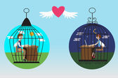 Business people in the bird cage fall in love — Stock Vector