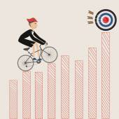 The Business man cycling to the target — Stock Vector