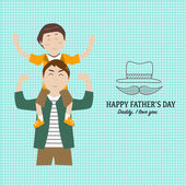 Happy father's day  with linear style symbol — Stock Vector