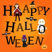 Happy Halloween background with cute little vampire  vector. ill — Stock Vector
