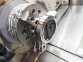 Operator machining mold and die for automotive parts — Stock Photo