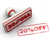 30 percent OFF. Seal and imprint — Stock Photo