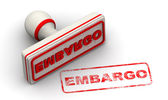 White and red embargo stamp — Stock Photo
