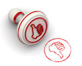 Stamp with thumb up sign on rubber stamper — Stock Photo
