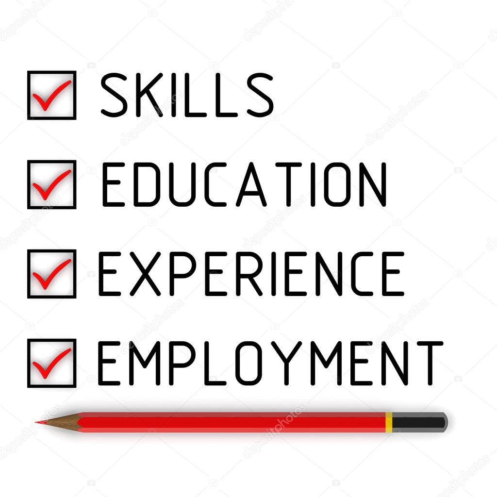 skills education experience employment list the marks the concept of employment skills education experience employment red pencil and a checklist red marks photo by waldemarus