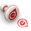White and red ISO  stamp with rubber stamper — Stock Photo #65098019