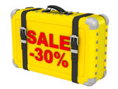 Sale -30%. The inscription on a yellow suitcase — Stock Photo