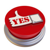 Round button with the symbol of the positive reviews — Stock Photo