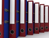 Red and blue Loose-leaf binders — Stock Photo