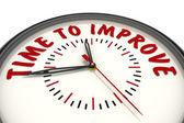 Tid att förbättra. Klockor med en inskription — Stockfoto