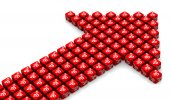 The arrow of red cubes — Stock Photo