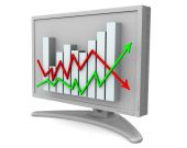 Monitor with business statistics on display — Stok fotoğraf