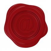 Wax stamp with at sign — Stock Photo