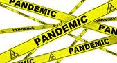 Pandemic. Yellow warning tapes — Stock Photo