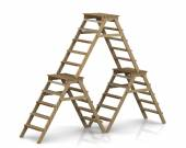 Brown Wooden stepladders — Stock Photo