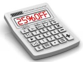 25 percent OFF. Discount. Inscription on the electronic calculator — Stock Photo