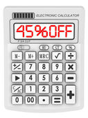 45 percent OFF. Discount. Inscription on the electronic calculator — Stock Photo