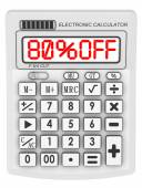 80 percent OFF. Discount. Inscription on the electronic calculator — Stock Photo