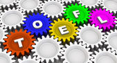 TOEFL. Abbreviation on the gears — Stockfoto