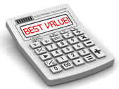 BEST VALUE! The inscription on display of calculator — Stock Photo