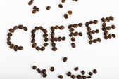 Word coffee made from coffee beans — Stock Photo