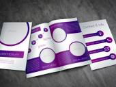 Business brochure template - purple and white design with editable diagram — Stock Vector