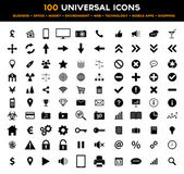 Big set of universal black flat icons - business, office, finance, environment and technology — Stok Vektör
