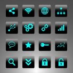 siyah ve mavi simgeler - teknoloji, iş ve web set — Stok Vektör #52597759