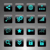 Set of black and cyan icons - technology, business and web — Stock Vector