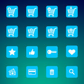 Collection of various blue e-shop icons - shopping carts — Stock Vector