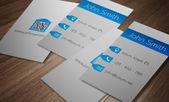 Business card template - modern light grey and blue design — Stock Vector