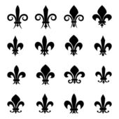 Set of 16 different Fleur De Lis symbols — Stock Vector