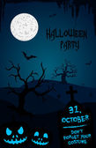 Halloween party flyer template - blue and black - cemetery theme — Stock Vector