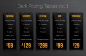 Dark pricing tables - set of five price banner templates suitable for web and e-shops — Stock Vector
