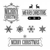 Merry Christmas decorative signs and frames with snowflakes — Stock Vector