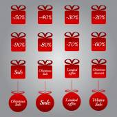 Christmas pricing tags - red gift and bauble shapes — Stock Vector