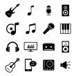 Collection of flat media icons - audio, musical instruments and sound related symbols — Stock Vector #63195657