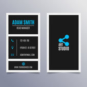 Business card template - vertical black and blue modern clean design — Stock Vector