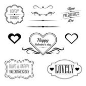 Set of decorative frames, sings and borders related to Valentine's day — Stock Vector