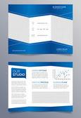 Business trifold brochure template - blue and white sleek modern design — Stock Vector