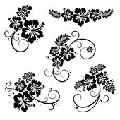 Collection of hibiscus flourish decorative design elements — Cтоковый вектор
