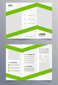 Business trifold brochure template - green and white sleek modern design — Stock Vector